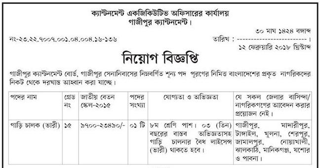 Gazipur Cantonment Job Circular 2018