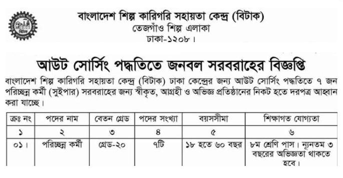 Bangladesh Industrial and Technical Assistance Center (BITAC) Job Circular 2018